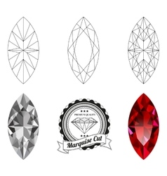 Set of marquise cut jewel views vector