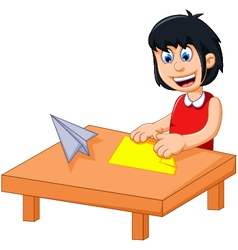 Funny little girl cartoon playing folding paper vector
