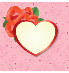 heart with roses on pink background - card vector image