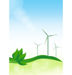 Wind generator green energy background vector