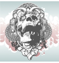Mythical skull illustration vector