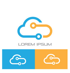 Cloud connected technology logo vector