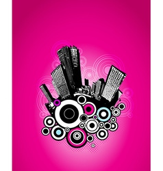 City with pink circles vector