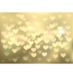 Golden festive lights in heart shape background vector image