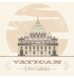 Vatican landmarks retro styled image vector