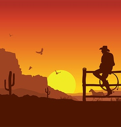 American cowboy on wild west sunset landscape in vector