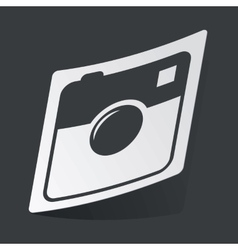 Monochrome square camera sticker vector