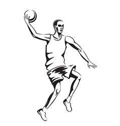 The athlete playing basketball vector