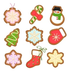 Gingerbread cookies christmas decoration on vector