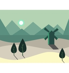 Seamless cartoon nature landscape with windmill vector