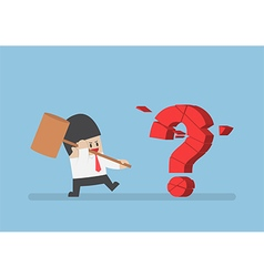Businessman holding hammer breaking red question m vector