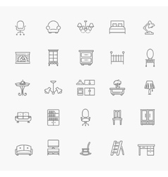 Furniture and home decor icon set vector