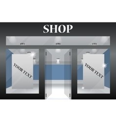 Shop front exterior horizontal windows empty for vector