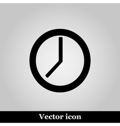 Clock icon on grey background vector