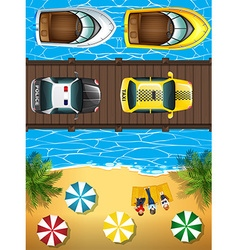 Ocean scene with boats and cars vector
