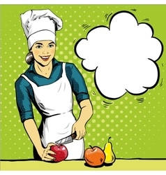 Beautiful woman cooking in vector image