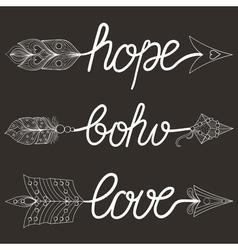 Boho love hope vector