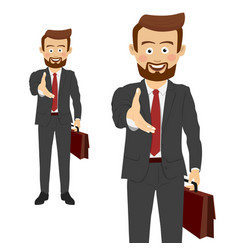 businessman giving his hand for handshake vector image vector image