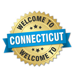 Connecticut 3d gold badge with blue ribbon vector