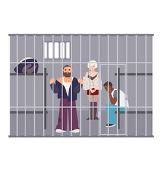 criminals in cell at police station or jail vector image