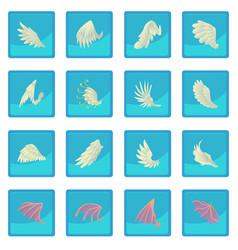 Different wings icon blue app vector
