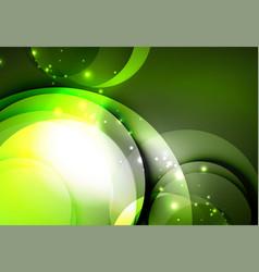 Digital glowing waves and circles vector