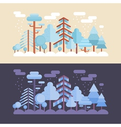 Flat forest scene with trees and wood scenery vector