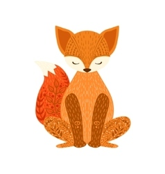 Fox relaxed cartoon wild animal with closed eyes vector