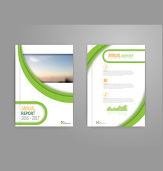 Green curve cover annual report brochure vector