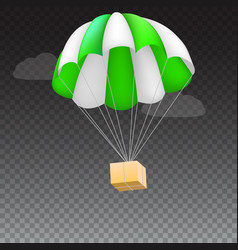 icon of package flying on green parachute vector image vector image