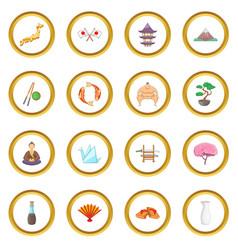 Japan icons circle vector