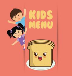 Kids menu boy and girl slice bread vector