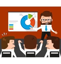 Lucky businessman failed presentation for his vector image