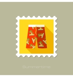 Men beach shortsl flat stamp with long shadow vector