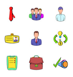 presentation icons set cartoon style vector image vector image