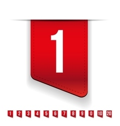 Red ribbons with number set vector image