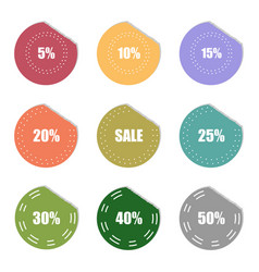 Sale and percentage tear sticker label set vector