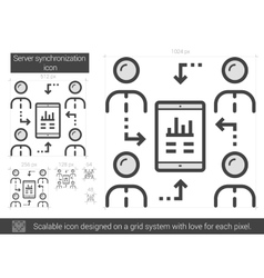 Server synchronization line icon vector
