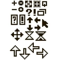 Set of different black pixel font symbols vector
