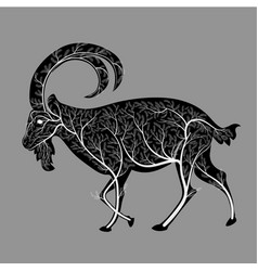 Silhouette of a goat with a texture of a bush vector