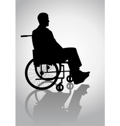 Silhouette of a person on a wheelchair vector