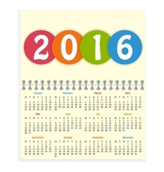 Spiral 2016 calendar vector