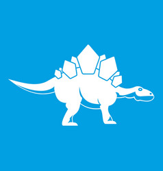 Stegosaurus dinosaur icon white vector