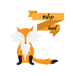 stop hunting with fox ribbon vector image