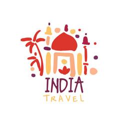 Travel to india logo with taj mahal vector