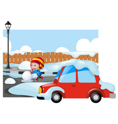 Winter scene with kid on snowy road vector