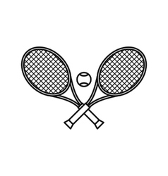 Crossed tennis rackets and ball icon outline style vector