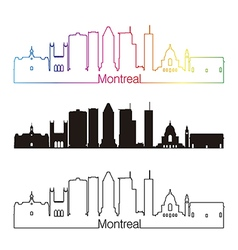 Montreal V2 skyline linear style with rainbow vector image