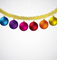 Christmas bauble and tinsel starry background in vector
