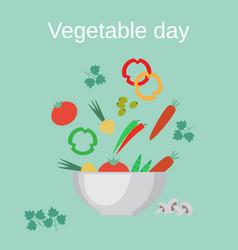 salad bowl and fresh vegetables vector image